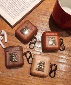 Ash Wood with Gold Clasp AirPods Case Shock Proof Cover