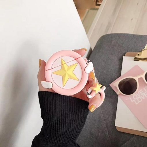 Baby Pink Star with Wings Premium AirPods Case Shock Proof Cover