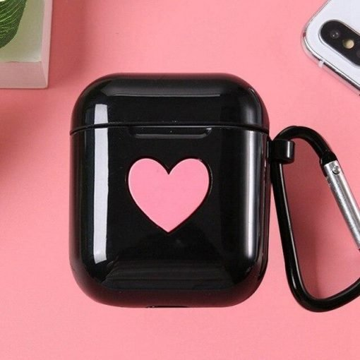 Black Heart AirPods Case Shock Proof Cover