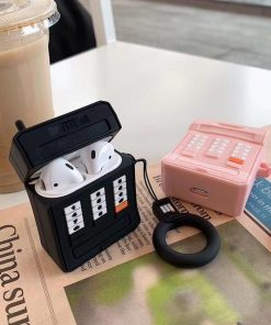 Black Retro Cell Phone AirPods Case Shock Proof Cover