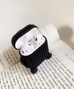 Black Round Luggage AirPods Case Shock Proof Cover