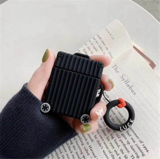 Black Square Luggage AirPods Case Shock Proof Cover