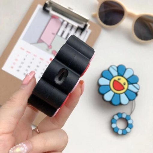 Blue Happy Sunflower Premium AirPods Case Shock Proof Cover
