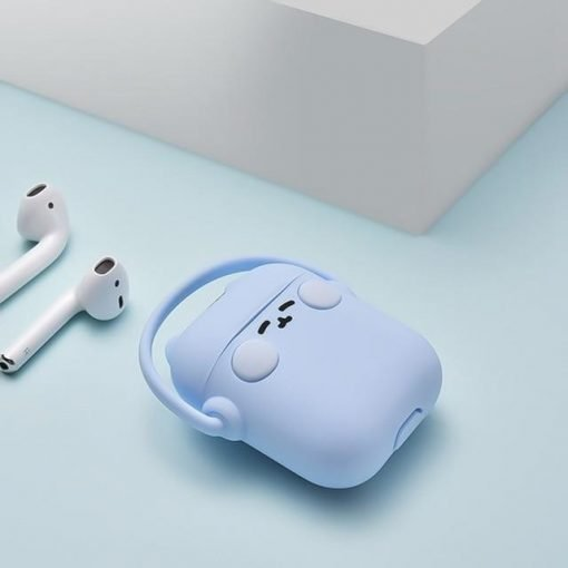 Blue Headphones Cat AirPods Case Shock Proof Cover