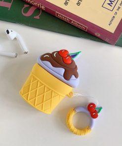 Blueberry Cheesecake w/ Chocolate Fudge Ice Cream Cone Premium AirPods Case Shock Proof Cover