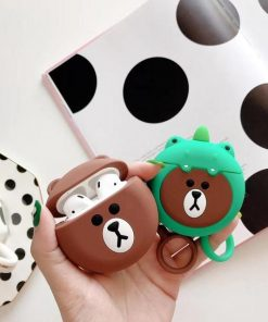 Brown Teddy Bear 'In a Dinosaur Costume' Premium AirPods Case Shock Proof Cover