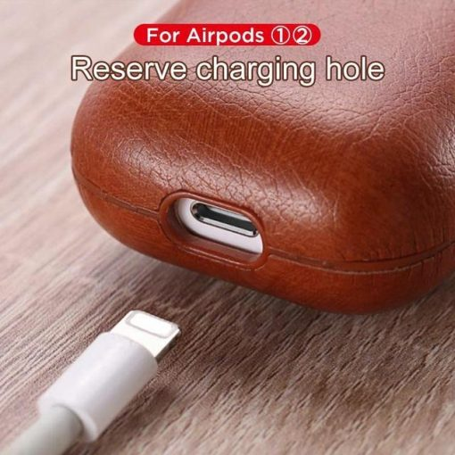 Burgundy Leather AirPods Case Shock Proof Cover