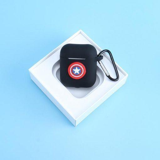 Captain America Logo Black AirPods Case Shock Proof Cover