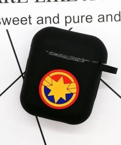 Captain Marvel Black AirPods Case Shock Proof Cover