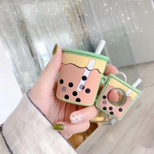 Green Bubble Tea AirPods Case Shock Proof Cover