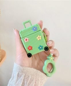 Green Suitcase with Flowers Premium AirPods Case Shock Proof Cover