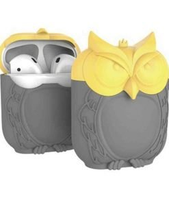 Grey and Yellow Owl AirPods Case Shock Proof Cover