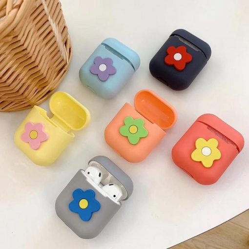 Grey Flower AirPods Case Shock Proof Cover