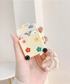 Ivory Suitcase with Flowers Premium AirPods Case Shock Proof Cover
