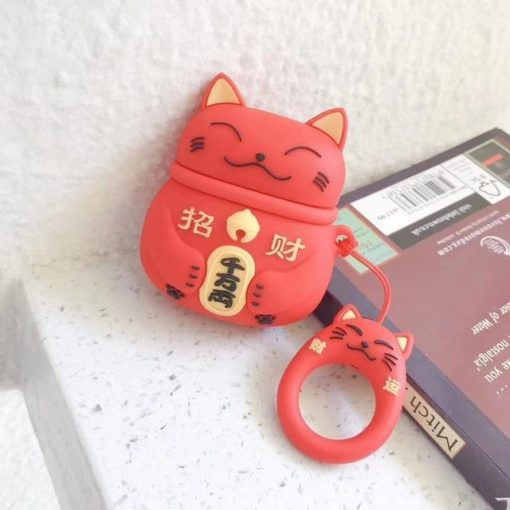 Japanese Maneki-Neko 'Red Cat' Premium AirPods Case Shock Proof Cover