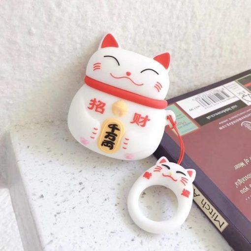 Japanese Maneki-Neko 'White Cat' Premium AirPods Case Shock Proof Cover