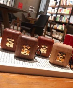 Mahogany Wood with Gold Clasp AirPods Case Shock Proof Cover