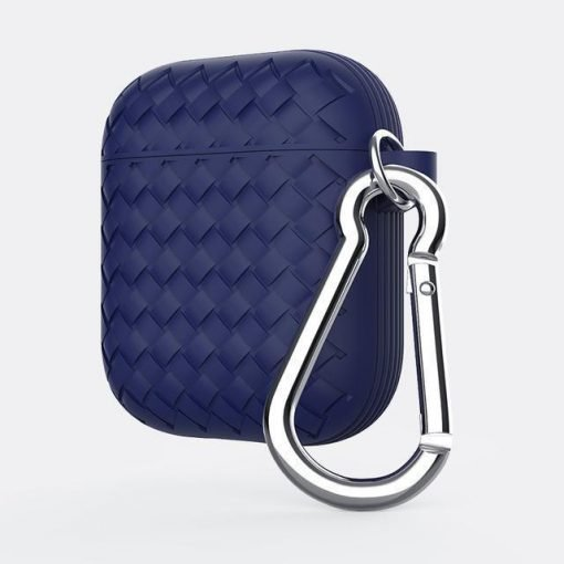 Navy Basket Weave AirPods Case Shock Proof Cover