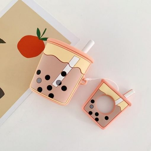 Orange Bubble Tea AirPods Case Shock Proof Cover