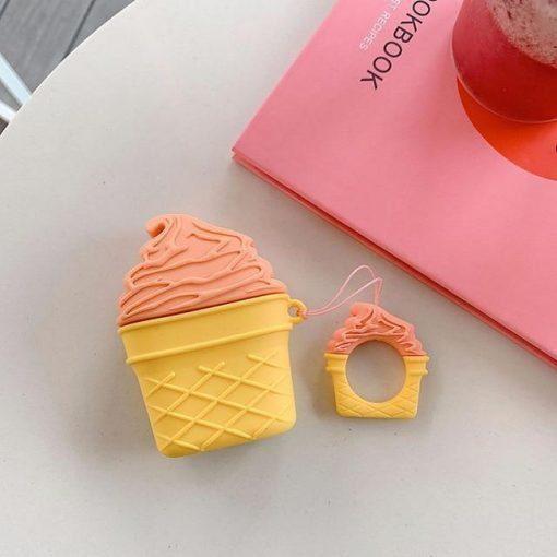 Orange Sorbet Ice Cream Cone Premium AirPods Case Shock Proof Cover