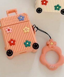 Orange Suitcase with Flowers Premium AirPods Case Shock Proof Cover
