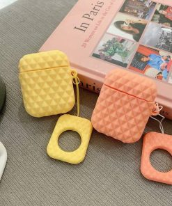 Orange Textured AirPod Case Shock Proof Cover