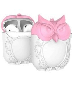 Pink and White Owl AirPods Case Shock Proof Cover