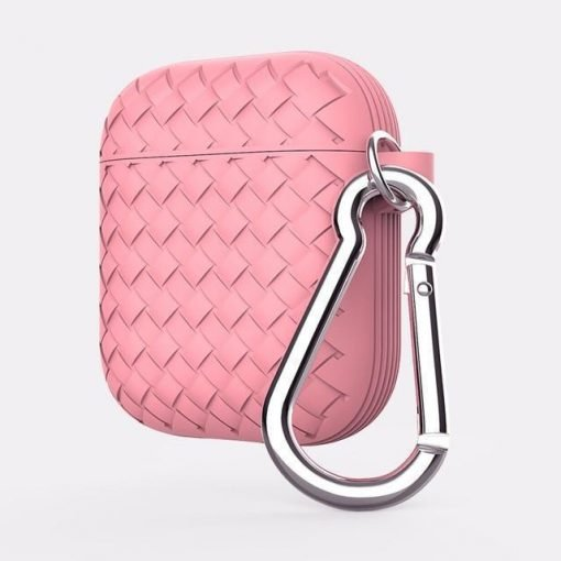 Pink Basket Weave AirPods Case Shock Proof Cover