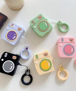 Pink Bear Camera AirPods Case Shock Proof Cover