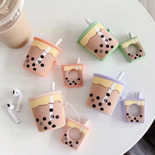 Pink Bubble Tea AirPods Case Shock Proof Cover