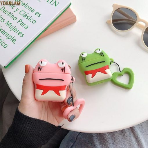 Pink Grumpy Frog AirPods Case Shock Proof Cover