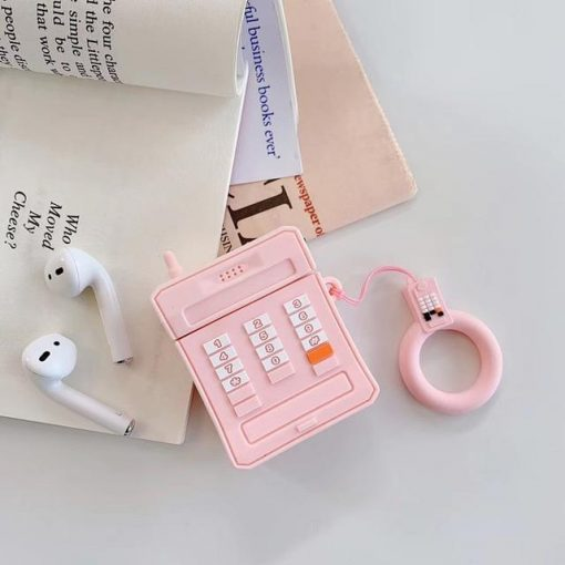 Pink Retro Cell Phone AirPods Case Shock Proof Cover