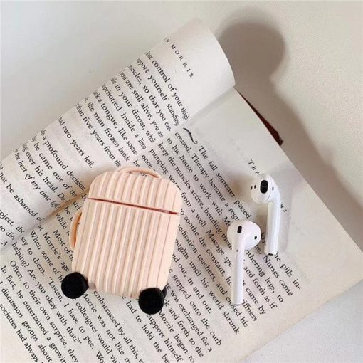 Pink Round Luggage AirPods Case Shock Proof Cover