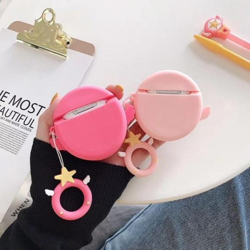 Pink Star with Wings Premium AirPods Case Shock Proof Cover