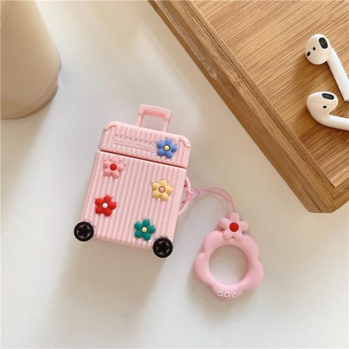Pink Suitcase with Flowers Premium AirPods Case Shock Proof Cover
