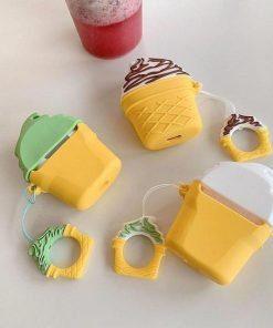 Pistachio Ice Cream Cone Premium AirPods Case Shock Proof Cover