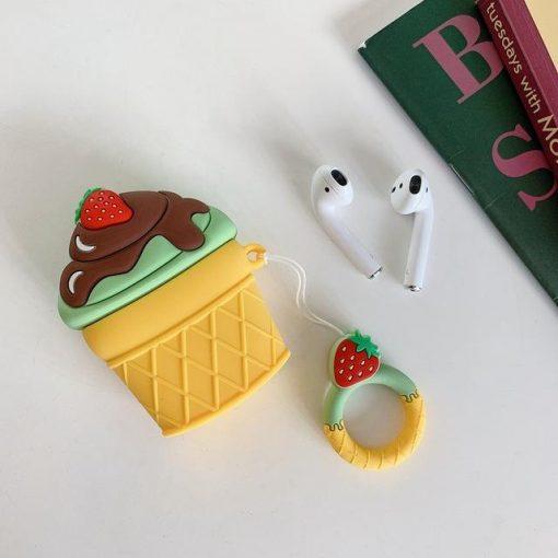 Pistachio w/ Chocolate Fudge Ice Cream Cone Premium AirPods Case Shock Proof Cover