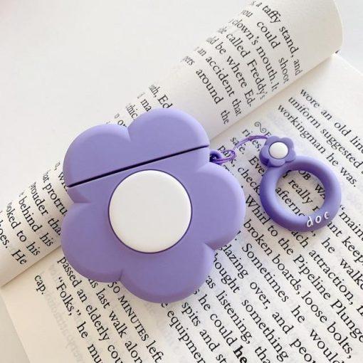 Purple Flower Premium AirPods Case Shock Proof Cover