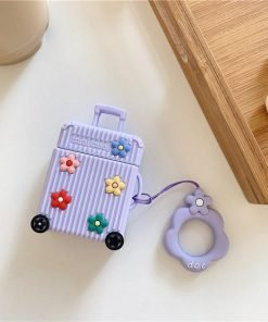 Purple Suitcase with Flowers Premium AirPods Case Shock Proof Cover