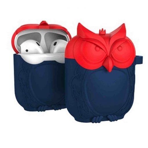 Red and Navy Owl AirPods Case Shock Proof Cover
