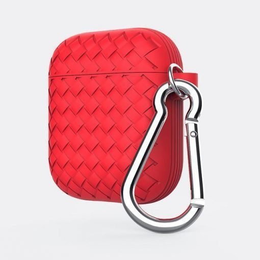 Red Basket Weave AirPods Case Shock Proof Cover