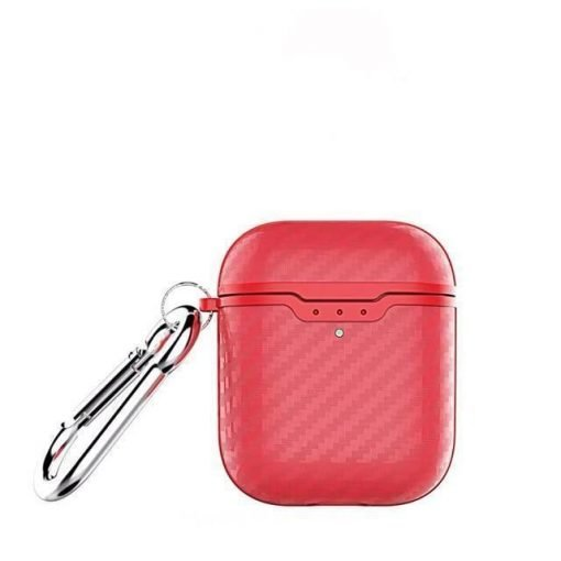 Red Carbon Fiber Airpod 2 Case Wirless Charging Shock Proof Cover