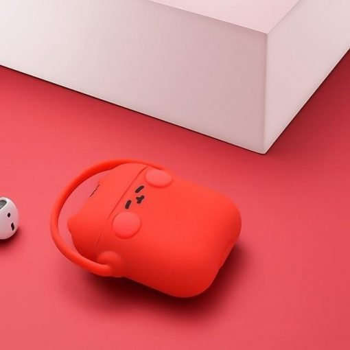 Red Headphones Cat AirPods Case Shock Proof Cover