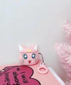 Sailor Moon Pink Cat Premium AirPods Case Shock Proof Cover