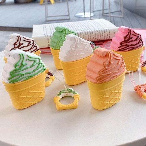 Strawberry w/ Chocolate Drizzle Ice Cream Cone Premium AirPods Case Shock Proof Cover