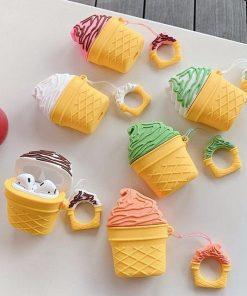 Vanilla w/Chocolate Drizzle Ice Cream Cone Premium AirPods Case Shock Proof Cover