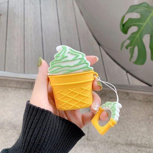 Vanilla w/Pistachio Drizzle Ice Cream Cone Premium AirPods Case Shock Proof Cover