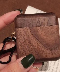 Walnut Wood AirPods Case Shock Proof Cover