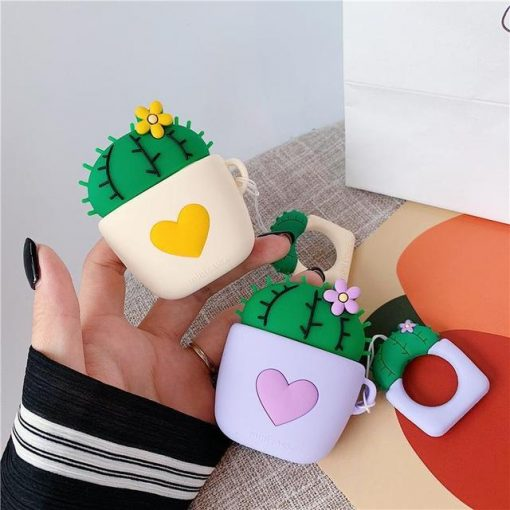 White Cactus Yellow Heart AirPods Case Shock Proof Cover