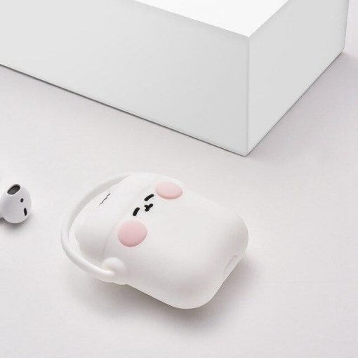 White Headphones Cat AirPods Case Shock Proof Cover
